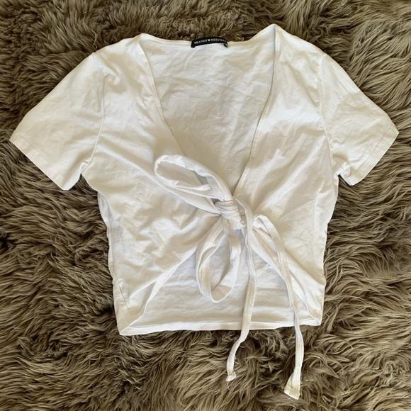 Brandy Melville White Self Tie Multiway T-Shirt